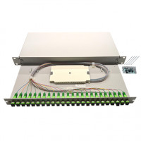 """1U 19"""" Single mode sliding patch panel for trunk cables"""